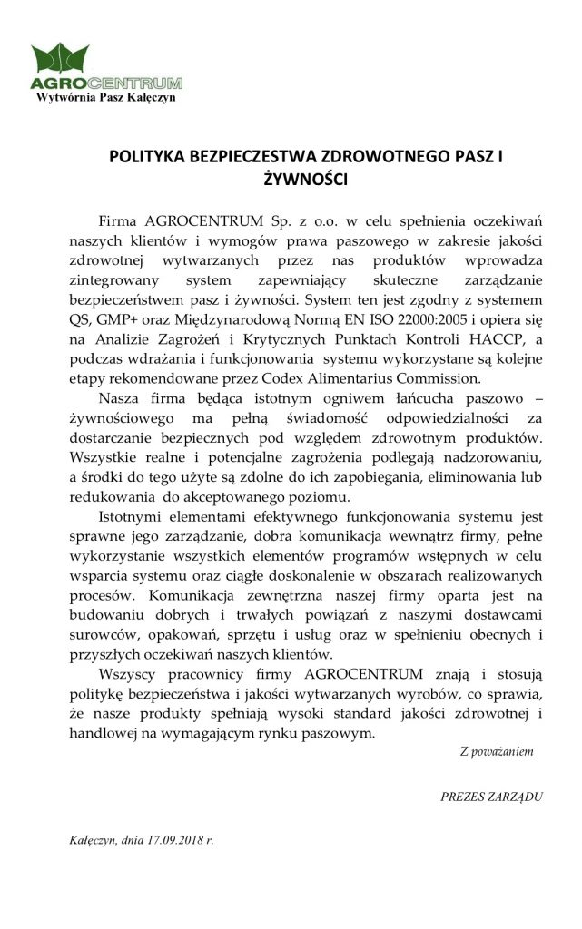 polityka bezpieczeństwa Agrocentrum Sp. zo.o.